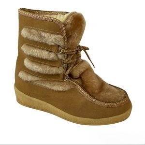 SNOWLAND Vintage Brown Faux Fur Lined Boots